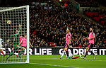 Daniel Sturridge of England heads the opening goal past Craig Gordon of Scotland during the FIFA World Cup Qualifying Group F match at Wembley Stadium, London. Picture date: November 11th, 2016. Pic David Klein/Sportimage