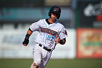 Inland Empire 66ers catcher Jack Kruger (27) hustles to third base during a California League game against the Lancaster JetHawks at San Manuel Stadium on May 20, 2018 in San Bernardino, California. Inland Empire defeated Lancaster 12-2. (Zachary Lucy/Four Seam Images)