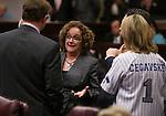Nevada Sens., from left, Ben Kieckhefer, Debbie Smith and Barbara Cegavske talk on the Senate floor in the final minutes of the 77th Legislative session in Carson City, Nev., on Monday, June 3, 2013. (AP Photo/Cathleen Allison)
