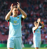 Burnley's Sam Vokes applauds the travelling support at the final whistle<br /> <br /> Photographer David Shipman/CameraSport<br /> <br /> The Premier League - Middlesbrough v Burnley - Saturday 8th April 2017 - Riverside Stadium - Middlesbrough<br /> <br /> World Copyright &copy; 2017 CameraSport. All rights reserved. 43 Linden Ave. Countesthorpe. Leicester. England. LE8 5PG - Tel: +44 (0) 116 277 4147 - admin@camerasport.com - www.camerasport.com