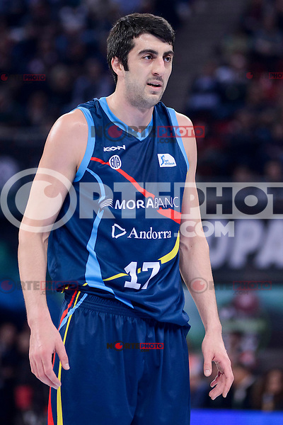 Morabanc Andorra's Giorgi Shermadini during Quarter Finals match of 2017 King's Cup at Fernando Buesa Arena in Vitoria, Spain. February 16, 2017. (ALTERPHOTOS/BorjaB.Hojas) /Nortephoto.com