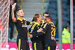 Stockholm 2014-04-16 Fotboll Allsvenskan Djurg&aring;rdens IF - AIK :  <br /> AIK:s Martin Lorentzson har gjort 1-0 och gratuleras av lagkamrater AIK:s Alexander Milosevic och AIK:s Niclas Eliasson <br /> (Foto: Kenta J&ouml;nsson) Nyckelord:  Djurg&aring;rden DIF Tele2 Arena AIK jubel gl&auml;dje lycka glad happy