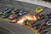 18-19 February, 2016, Daytona Beach, Florida USA<br /> Christopher Bell gets sideways in turn 1, lifting his left rear tire and showering his fellow compeditors with sparks but does not crash.<br /> ©2016, F. Peirce Williams