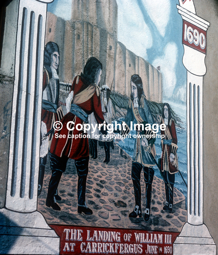Loyalist mural in Londonderry, N Ireland, UK, of William III, aka William of Orange, landing at Carrickfergus, Co Antrim. Painting by local artist, Robert Jackson, August, 1978, 1978080118e<br />