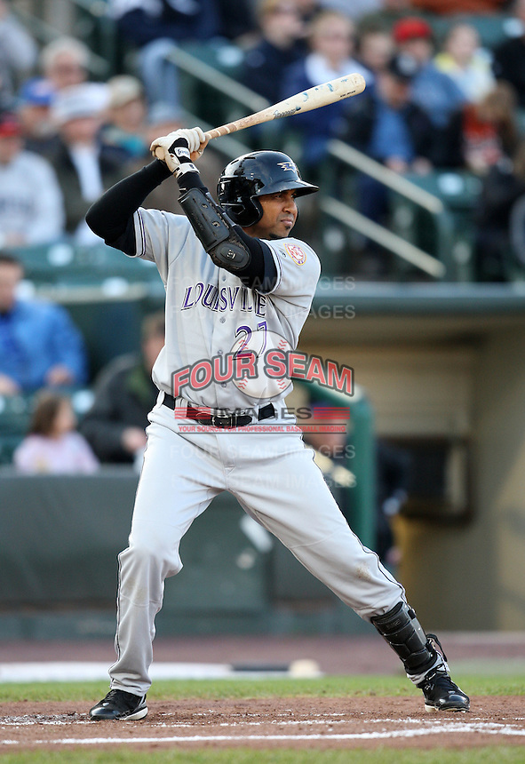 Louisville Bats outfielder Luis Terrero (27) during a game vs. the Rochester Red Wings Friday, May 14, 2010 at Frontier Field in Rochester, New York.   Rochester defeated Louisville by the score of 13-4.  Photo By Mike Janes/Four Seam Images