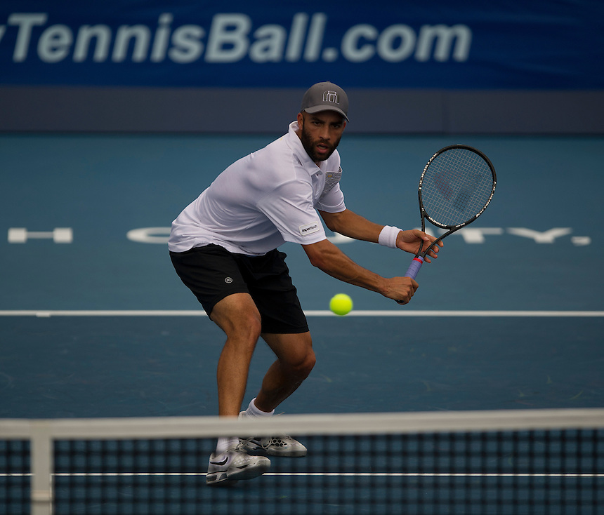 James Blake (USA) in action during his defeat by Ernests Gulbis (LAT) in their First Round match today - E Gulbis (LAT) def J Blake (USA) 6-1 6-4..ATP 250 Tennis - 2012 Delray Beach International Tennis Championships - Tuesday 26th February 2013 - Delray Beach Stadium & Tennis Center - Delray Beach - Florida - USA..© CameraSport - 43 Linden Ave. Countesthorpe. Leicester. England. LE8 5PG - Tel: +44 (0) 116 277 4147 - admin@camerasport.com - www.camerasport.com