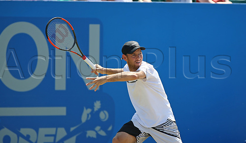 June 18th 2017, Nottingham, England; ATP Aegon Nottingham Open Tennis Tournament day 7 finals day;  Dudi Sela of Israel in action in the men's singles final against Thomas Fabbiano of Italy