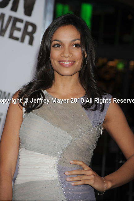 "HOLLYWOOD, CA. - January 11: Rosario Dawson attends the ""The Book Of Eli"" Los Angeles Premiere at Grauman's Chinese Theatre on January 11, 2010 in Hollywood, California."