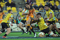 Jaguares captain Jeronimo De La Fuente takes the ball up during the Super Rugby match between the Hurricanes and Jaguares at Westpac Stadium in Wellington, New Zealand on Friday, 17 May 2019. Photo: Dave Lintott / lintottphoto.co.nz
