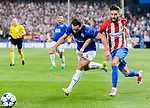 Yannick Ferreira Carrasco (r) of Atletico de Madrid battles for the ball with Danny Drinkwater of Leicester City during their 2016-17 UEFA Champions League Quarter-Finals 1st leg match between Atletico de Madrid and Leicester City at the Estadio Vicente Calderon on 12 April 2017 in Madrid, Spain. Photo by Diego Gonzalez Souto / Power Sport Images