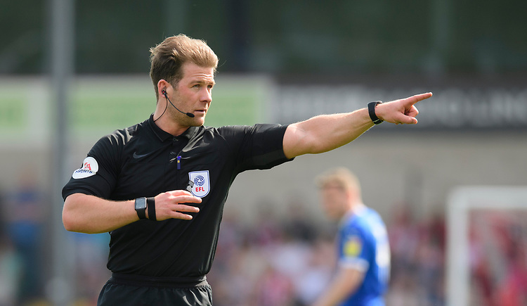 Referee Anthony Backhouse<br /> <br /> Photographer Chris Vaughan/CameraSport<br /> <br /> The EFL Sky Bet League Two - Lincoln City v Tranmere Rovers - Monday 22nd April 2019 - Sincil Bank - Lincoln<br /> <br /> World Copyright © 2019 CameraSport. All rights reserved. 43 Linden Ave. Countesthorpe. Leicester. England. LE8 5PG - Tel: +44 (0) 116 277 4147 - admin@camerasport.com - www.camerasport.com