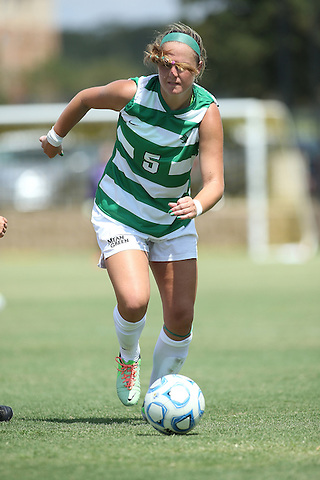 ARLINGTON, TX - AUGUST 25: Jackie Moreau #5 of the North Texas Mean Green - Houston Baptist vs North Texas Mean Green Soccer at Mean Green Village Soccer Field in Denton on August 25, 2013 in Denton, Texas. Photo by Rick Yeatts