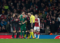 The AC Milan players protest the penalty awarded by the referee during the UEFA Europa League round of 16 2nd leg match between Arsenal and AC Milan at the Emirates Stadium, London, England on 15 March 2018. Photo by Vince  Mignott / PRiME Media Images.