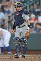 The Reno Aces catcher Ryan Budde #6 watches the action during the game against the Omaha Storm Chasers at Werner Park on August 3, 2012 in Omaha, Nebraska.(Dennis Hubbard/Four Seam Images)