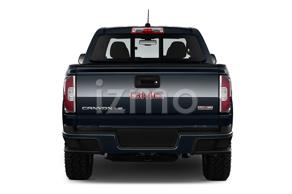 Straight rear view of a 2019 GMC Canyon Allterrain 4 Door Pick Up stock images