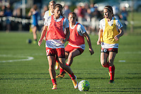 Kansas City, Mo. - Saturday April 23, 2016: Portland Thorns FC midfielder Tobin Heath (17) and forward Mallory Weber (26) warm up before a match against FC Kansas City  at Swope Soccer Village. The match ended in a 1-1 draw.