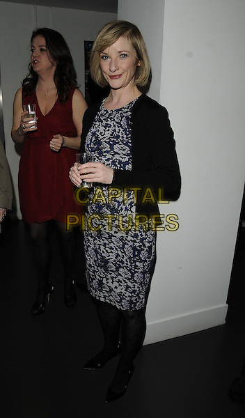 "Jane Horrocks.attended the ""Broken"" UK film premiere, Hackney Picturehouse, Mare St., London, England..March 4th, 2013.full length black  jacket blue grey gray print pattern dress tights side .CAP/CAN.©Can Nguyen/Capital Pictures."