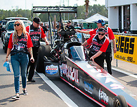 Mar 15, 2019; Gainesville, FL, USA; Crew members for NHRA top fuel driver Dom Lagana during qualifying for the Gatornationals at Gainesville Raceway. Mandatory Credit: Mark J. Rebilas-USA TODAY Sports
