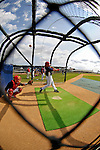 25 February 2007: Washington Nationals catcher Jesus Flores takes batting practice at their spring training facility in Viera, Florida.<br /> <br /> Mandatory Photo Credit: Ed Wolfstein Photo