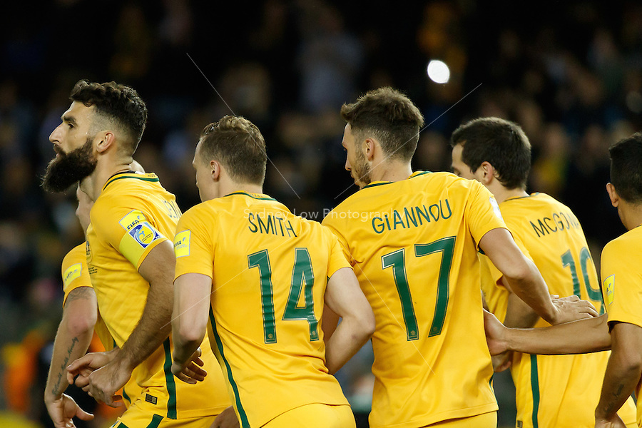 October 11, 2016: MILE JEDINAK (15) of Australia celebrates after scoring through a penalty kick during a 3rd round Group B World Cup 2018 qualification match between Australia and Japan at the Docklands Stadium in Melbourne, Australia. Photo Sydney Low Please visit zumapress.com for editorial licensing. *This image is NOT FOR SALE via this web site.