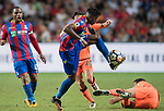 Crystal Palace midfielder Wilfried Zaha  (L) competes for the ball with Liverpool FC players during the Premier League Asia Trophy match between Liverpool FC and Crystal Palace FC at Hong Kong Stadium on 19 July 2017, in Hong Kong, China. Photo by Weixiang Lim / Power Sport Images