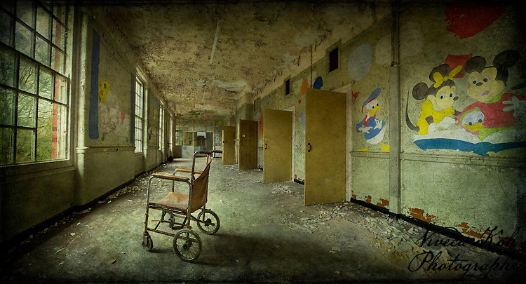 West Park Asylum children's ward with wheelchair http://www.vivecakohphotography.co.uk/2011/09/14/asylum-childrens-ward/