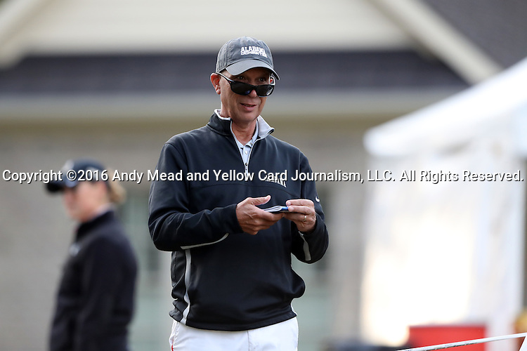 28 October 2016: University of Alabama head coach Mic Potter. The First Round of the 2016 Landfall Tradition NCAA Women's Golf Championship hosted by the University of North Carolina Wilmington Seahawks was held at the Pete Dye Course at the Country Club of Landfall in Wilmington, North Carolina.