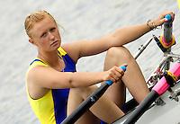 Poznan, POLAND.  2006, FISA, Rowing, World Cup, Bow, UKR W4X, Anastasiya KOZHENKOVA waits for the start of the heat on the Malta  Lake. Regatta Course, Poznan, Thurs. 15.05.2006. © Peter Spurrier   .[Mandatory Credit Peter Spurrier/ Intersport Images] Rowing Course:Malta Rowing Course, Poznan, POLAND