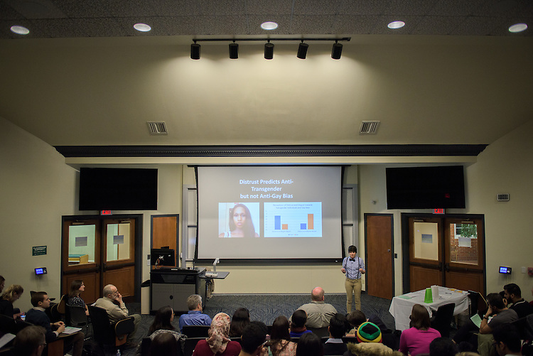 Dozens attend the 3 Minute Thesis Competition at the Stocker Center on February 15, 2017.