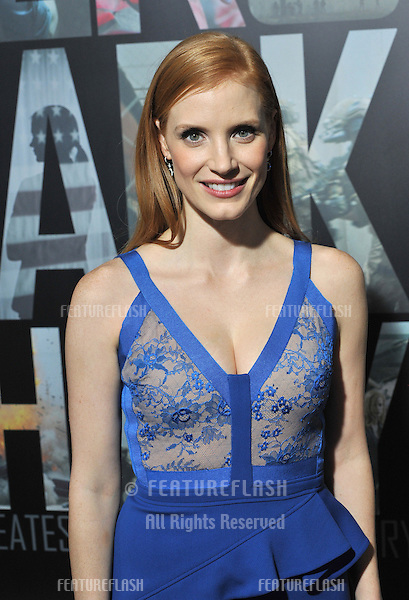 "Jessica Chastain at the premiere of her movie ""Zero Dark Thirty"" at the Dolby Theatre, Hollywood..December 10, 2012  Los Angeles, CA.Picture: Paul Smith / Featureflash"
