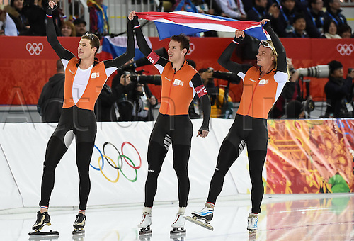 22.02.2014. Sochi, Russia. The Netherlands team competes during the mens team pursuit finals of Speed Skating at the 2014 Sochi Winter Olympic Games in Sochi The Netherlands won the gold medal with 3 minutes and 37.71 seconds and set a new Olympic record.