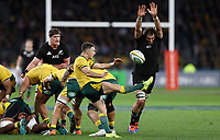 Samuel Whitelock of the All Blacks attempts to charge down a kick from Nic White of the Wallabies during the Rugby Championship match between Australia and New Zealand at Optus Stadium in Perth, Australia on August 10, 2019 . Photo: Gary Day / Frozen In Motion