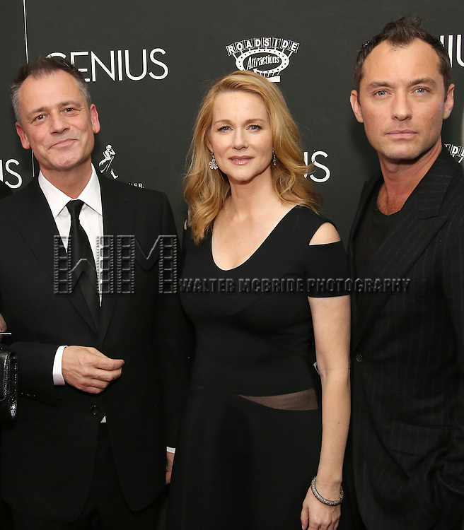Michael Grandage, Laura Linney and Jude Law attends 'Genius' New York premiere at Museum of Modern Art on June 5, 2016 in New York City.