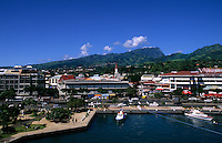 The city and Port of Papeete the largest city in Tahiti, French Polynesia , Pacific South Rim