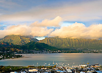 View of Kaneohe Bay includes marina and Koolau Mountains
