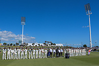 The teams line up at the start of day one of the international cricket 1st test match between NZ Black Caps and England at Bay Oval in Mount Maunganui, New Zealand on Thursday, 21 November 2019. Photo: Dave Lintott / lintottphoto.co.nz