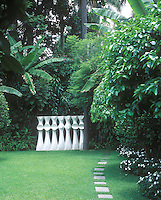 At the far end of the garden is a fibre-glass processional sculpture by Igino Balderi