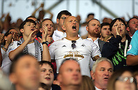 Pictured: Swansea supporters Saturday 27 August 2016<br /> Re: Swansea City FC v Leicester City FC Premier League game at the King Power Stadium, Leicester, England, UK