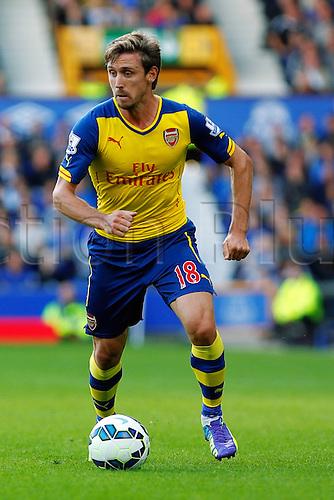 23.08.2014.  Liverpool, England. Premier League. Everton versus Arsenal. Arsenal defender Nacho Monreal profile