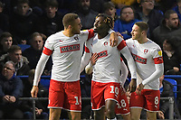 Freddie Ladapo of Rotherham United middle celebrates scoring to make the score 1-1  during Portsmouth vs Rotherham United, Sky Bet EFL League 1 Football at Fratton Park on 26th November 2019