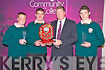 Con Moynihan, principal Killorglin Community College presents Nicholas King, student of the year, with his plaque at the school awards night held in the school on Thursday night. Also pictured are Jason O'Connor and Dale Browne, who also received students of the year presentations.