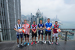 From left to right: Newcastle United's Dan Barlaser, Stoke City's Lewis Banks, Aston Villa's Khalid Abdo, Hong Kong Football Club's Gary Gheczy, Leicester City's Elliott Moore, and West Ham United's Lewis Page pose for a photograph in front of Hong Kong's urban landscape to celebrate the launch of the HKFC Citi Soccer Sevens on 19 May 2016 in Causeway Bay, Hong Kong, China. Photo by Lucas Schifres / Power Sport Images