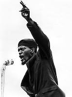 Black Panther William Lee Brent at rally at Lakeside Park in Oakland. April 12, 1968. He later hijacked a plane to Cuba. (1968 photo by Ron Riesterer)copyright @2014