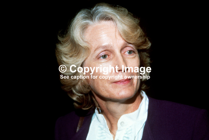 Mary Baker, wife of Kenneth Baker, MP, Conservative Party, UK, information technology minister, 19840146MB1.<br />