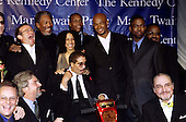 1998 Mark Twain Comedy Prize honoree Richard Pryor poses with the talent and Comedy Central executives on October 20, 1998.  Standing behind Mr. Pryor are, from left to right, Robin Williams, Morgan Freeman, Elizabeth Pryor, Danny Glover, Damon Wayans, and Chris Rock. .Credit: James Kelly / Pool via CNP