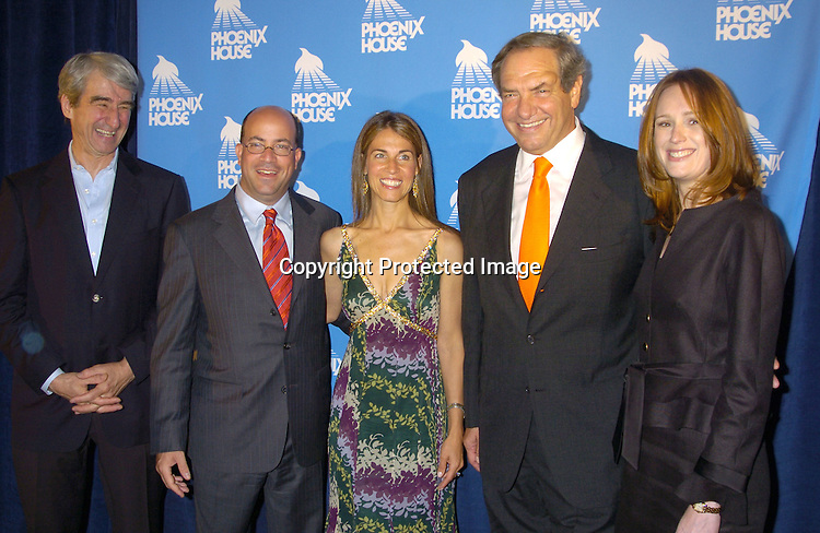 Sam Waterston, Jeff and Caryn  Zucker and Dick Wolf and fiancee Noelle Lippman ..at the Phoenix House Benefit honoring Jeff Zucker with the Phoenix Rising Award on June 8, 2005 at The Waldorf Astoria . ..Photo by Robin Platzer, Twin Images