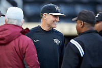 Wake Forest Demon Deacons head coach Tom Walter (16) prior to the game against the Florida State Seminoles at David F. Couch Ballpark on March 9, 2018 in  Winston-Salem, North Carolina.  The Seminoles defeated the Demon Deacons 7-3.  (Brian Westerholt/Four Seam Images)