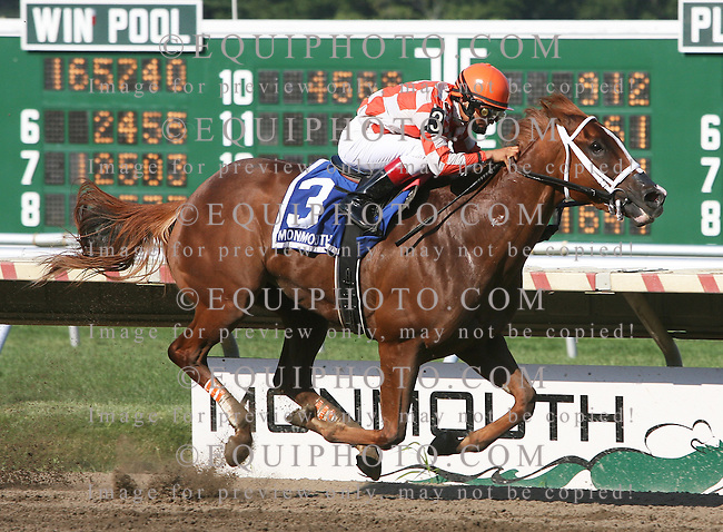 Just Jenda and Jockey Gabriel Saez cruise to victory in the $200,000 Monmouth Oaks at Monmouth Park in Oceanport, N.J. on Saturday August 15, 2009.  Photo By Ryan Denver/EQUI-PHOTO