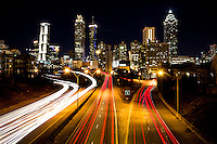 The Atlanta skyline at night.