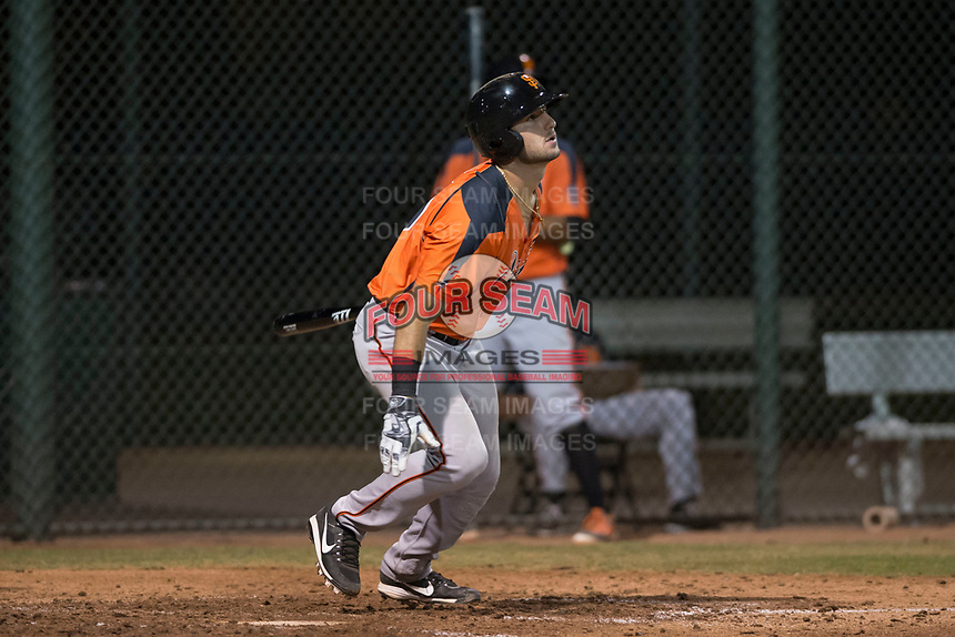 AZL Giants Orange designated hitter Joey Bart (9) starts down the first base line as he watches the ball drop for his first base hit as a professional during an Arizona League game against the AZL Athletics at Lew Wolff Training Complex on June 25, 2018 in Mesa, Arizona. AZL Giants Orange defeated the AZL Athletics 7-5. (Zachary Lucy/Four Seam Images)